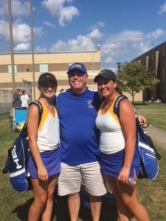 Clyde's tennis players Heidi Marshall, left, and Alayna Barrera qualified for state doubles in Division II. The Fliers' coach is Jeff MacFarland.