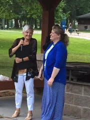 Patricia Marion, left, was honored by family, friends
