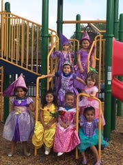 Pre-K4 students in their costumes after the parade