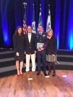 From left: Secretary of Homeland Security Kirstjen Nielsen, William Harvey, Ryan Harvey and Tina Carey.