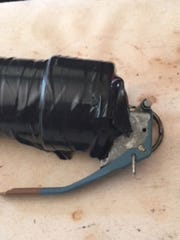 This pipe bomb was discovered on the front porch of