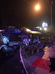 A Hyundai sport-utility vehicle was involved in a two-vehicle