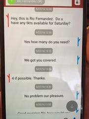 These texts involving FSU skybox tickets were part