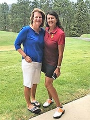 Overall low gross winners were Terry Dukes, right, and Leslie McCallick from-Horseshoe Bay, Texas.