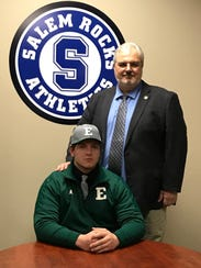 Family sentiment factored into Alex Howie's decision to go to Eastern. His mom, Cindy, who passed away from cancer in 2015, attended and worked there. Shown with Alex on National Signing Day is his dad, Dennis Howie.