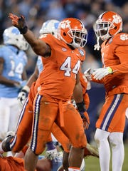 Clemson linebacker B.J. Goodson (44) during the 4th quarter of the ACC Championship at Bank of America Stadium in Charlotte Friday, Dec. 4, 2015.