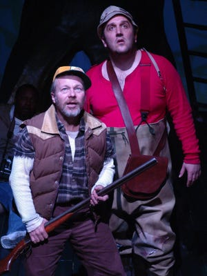 "Wayne David Parker, left, and Joey Albright  in ""Duck Hunter Shoots Angel,"" which was produced by Purple Rose Theatre in 2004."