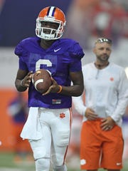 Clemson quarterback Zerrick Cooper (6) practices on Aug. 8, 2016.