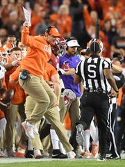 Clemson head coach Dabo Swinney reacts after as the Tigers play Alabama during the 1st quarter of the National Championship at Raymond James Stadium in Tampa on Monday, January 9, 2017.