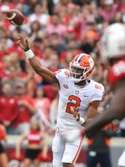 Clemson quarterback Kelly Bryant (2) passes against NC State during the 2nd quarter on Saturday, Nov. 28, 2017 at Clemson's Memorial Stadium.