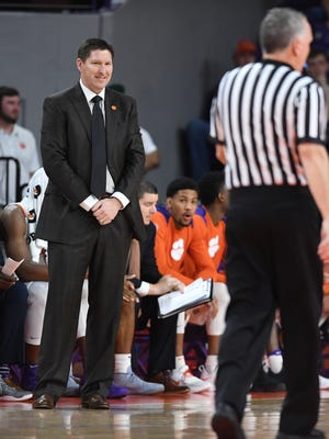 Clemson head coach Brad Brownell during the 1st half on Wednesday, February 28,  2018 at Clemson's Littlejohn Coliseum.