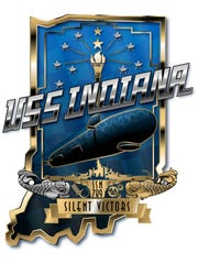 The official crest of the Virginia-class fast attack submarine USS Indiana (SSN 789).