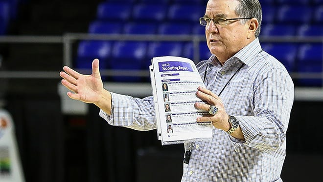MTSU women's basketball coach Rick Insell watches his team warm up Sunday, Feb. 26, 2017, for the Lady Raider's last home game of the 2016-17 season.