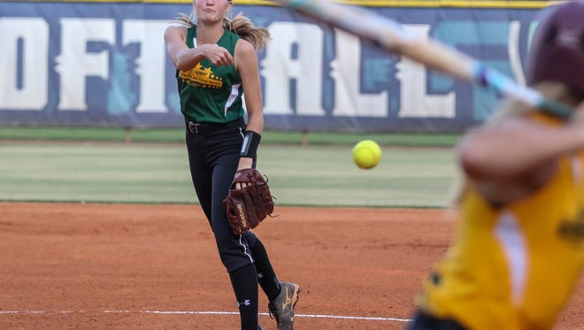 Tate's Hannah Brown (15) pitches in the 2018 Subway High School All-Star softball game at the University of West Florida on Thursday, June 7, 2018.