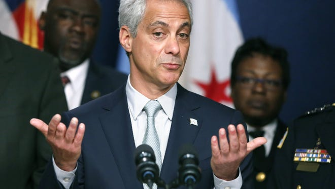 Rahm Emanuel Chicago Mayor Rahm Emanuel responds to a question during a news conference about new police procedures on Wednesday, Dec. 30, 2015, in Chicago. Emanuel says every Chicago police patrol car will be equipped with a Taser following a series of high-profile shootings by officers. (AP Photo/Charles Rex Arbogast)