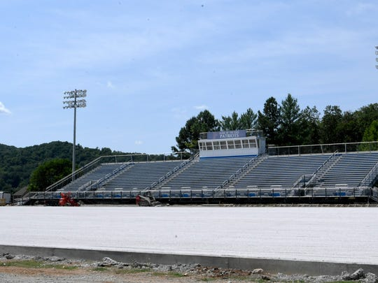 Construction on a new artificial turf field is underway at Page High School in Franklin, Tenn. on Saturday July 28, 2018.