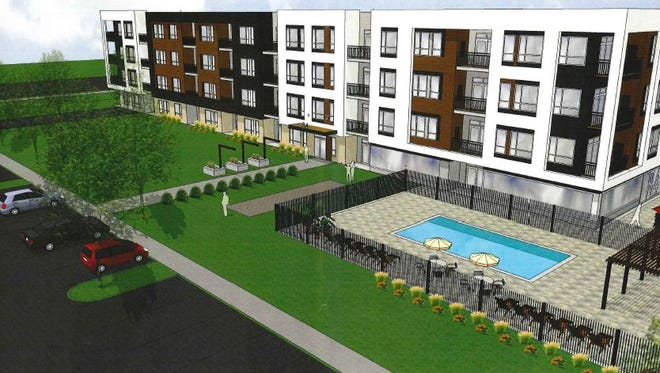Four apartment buildings, totaling 360 units, are planned for the 84 South mixed-use development.