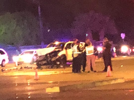 Mesa police were at the scene of a crash involving a police vehicle Tuesday night.