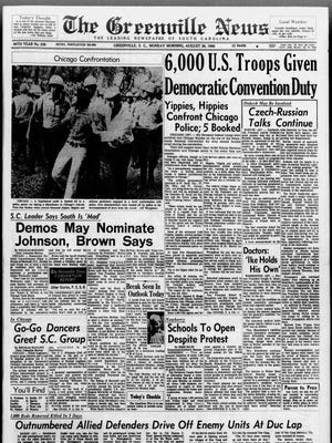 The front page of The Greenville News on Aug. 26, 1968.