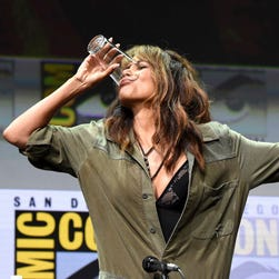 Halle Berry chugs bourbon like a champ during a wild 'Kingsman' panel at Comic-Con