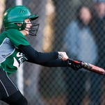 St. Johnsbury's Sarah Trahan (3) bunts the ball during the a high school softball game between St. Johnsbury and Milton last week.