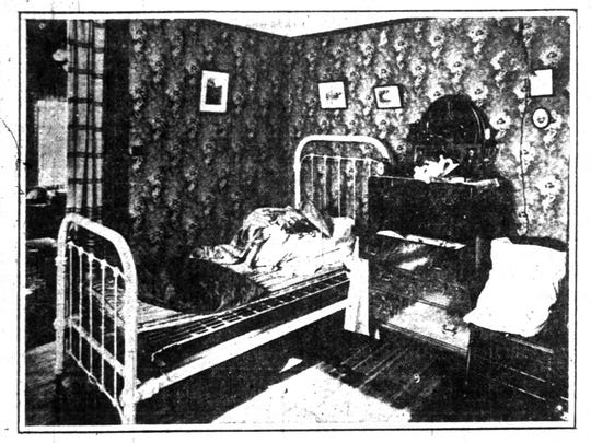 The Delaware Flats bedroom of Helene Knabe. Her body had just been moved when this photo was taken on Oct. 24, 1911