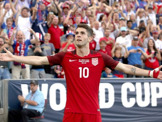 June 8, 2017: Christian Pulisic  celebrates scoring