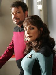 "Marina Sirtis (right) as Deanna Troi on ""Star Trek: The Next Generation."" She's pictured with co-star Jonathan Frakes."