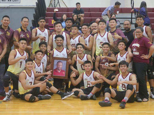 The Father Duenas Memorial School Friarsl beat the Notre Dame Royas in an IIAAG High School Boys Volleyball League semifinal match at the Phoenix Center in Mangilao.