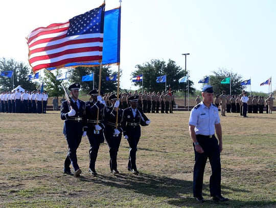 The Goodfellow Joint Service Color Guard presents colors