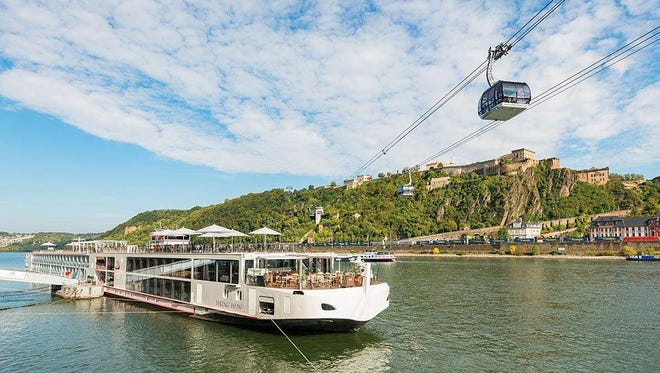 Viking's three-year-old, 190-passenger Odin, shown on the Rhine River. The German-built vessel was the first of a dozen Viking longships named after Norse gods and heroes.