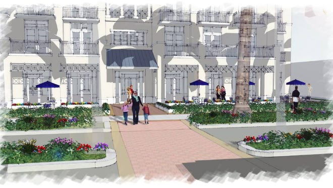 A project bringing new businesses and residents to downtown Bonita Springs is in the works, as shown in these renderings by Waldrop Engineering. Developers are hopeful construction could begin next summer.