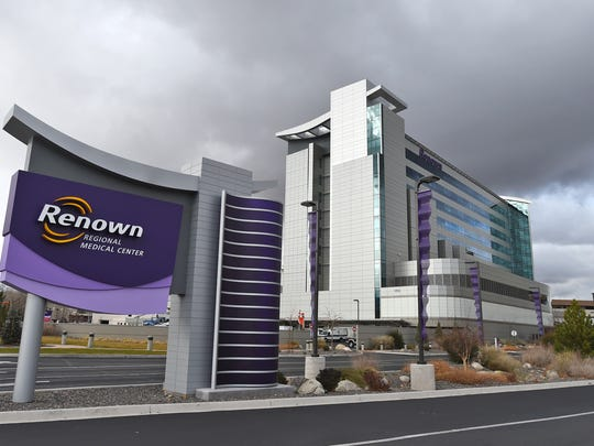A file photo showing the outside of Renown Regional Medical Center in Reno.