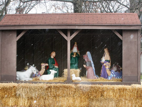 The Nativity scene that is placed in Wisner Park annually,