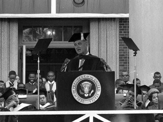 President Lyndon B. Johnson delivers the commencement