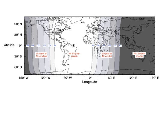 Where the lunar eclipse will be visible on Sunday night.