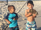 Jonah Rampersad, 3,  and Noah Rampersad, 2, left, love