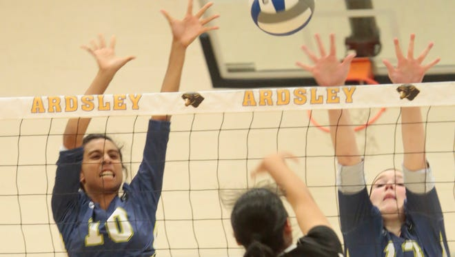 Game action between Ardsley and Nanuet High School Section 1 Class B quarterfinal volleyball at Ardsley High School on Nov. 3, 2015.