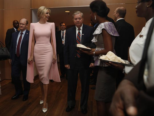 U.S. White House senior adviser Ivanka Trump, center left, walks to a State Dinner with Sen. Chris Coons, D-Del., left, and Sen. Lindsey Graham, R-S.C., who both attended as members of the Congressional Delegation, after the Women Entrepreneurs Finance Initative event, Wednesday April 17, 2019.