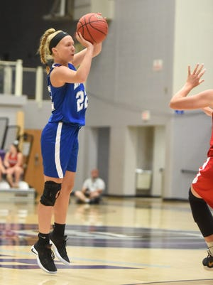 Mountain Home's Hannah Pfeifer launches one of her five made 3-pointers during the AHSCA All-Star Games on Saturday in Conway.