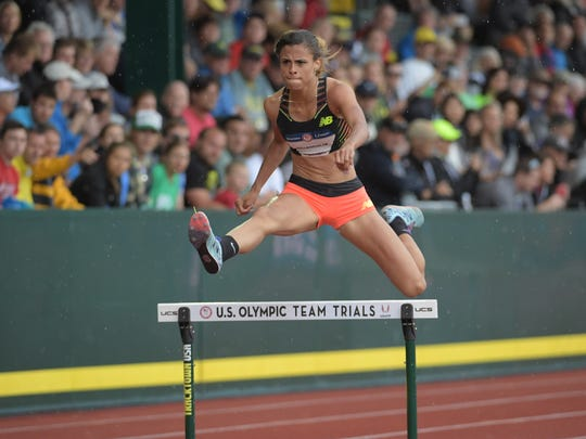 Jul 7, 2016; Eugene, OR, USA; Sydney McLaughlin competes during the women's 400m hurdles first round heats in the 2016 U.S. Olympic track and field team trials at Hayward Field. Mandatory Credit: Kirby Lee-USA TODAY Sports