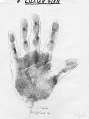 Lillian Gish palm print of left hand