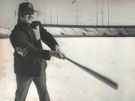 After being acquired by the Brewers in 1971, Don Pavletich took some swings in the snow at County Stadium.