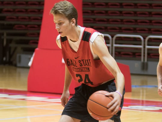 Zach Hollywood practices at Worthen Arena last season.