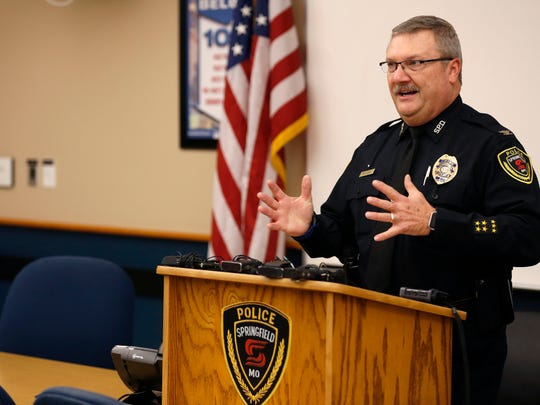 Springfield Police Chief Paul Williams speaks at a