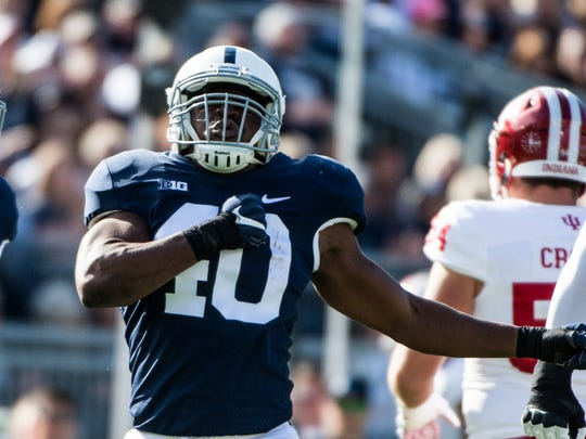 Penn State's Jason Cabinda celebrates his sack as Penn State beat Indiana University 45-14 on Saturday, Sept. 30, 2017.