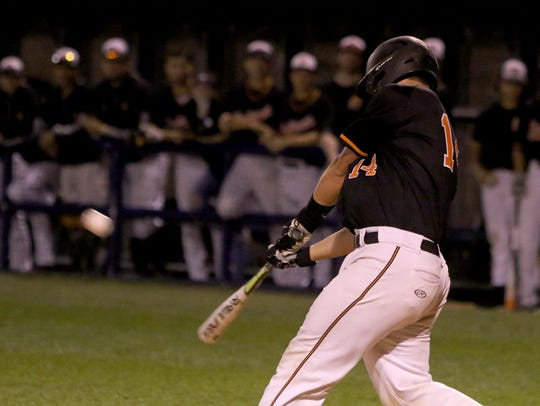 Burkburnett's Wyatt Grant hits a double and drives