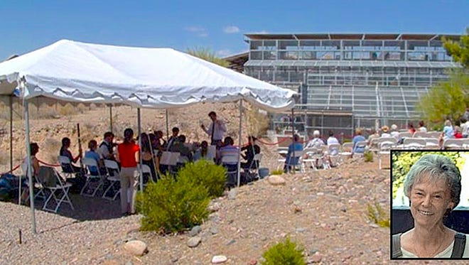 Arizona State University partnered with the Primate Foundation of Arizona by providing interns. In an experiment, and fundraiser, the ASU Symphony, seen under tent, came to the Fritz compound to play for the chimpanzees. PFA director Jo Fritz is seen in inset. Caged chimps can be seen in the background.