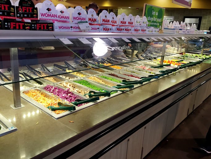 The salad bar at Whole Foods offers a plethora of healthy