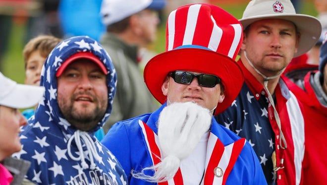 U.S. fans  at Ryder Cup practice.